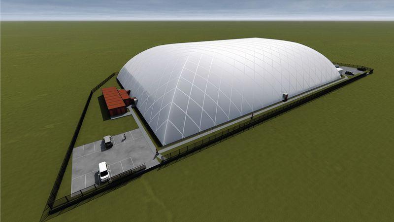 Kauno vakarinėje dalyje planuojama statyti uždarą futbolo stadioną. Kauno m. savivaldybės vizualizacija.