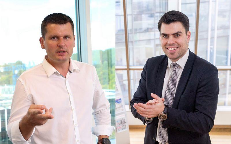 """Iš kairės: RemigijusPleteras, NT paslaugų bendrovės """"Ober-Haus"""" generalinis direktorius, ir Arnoldas Antanavičius, NT analitikas bei viešosios įstaigos """"Realdata"""" vadovas. VŽ fotomontažas"""