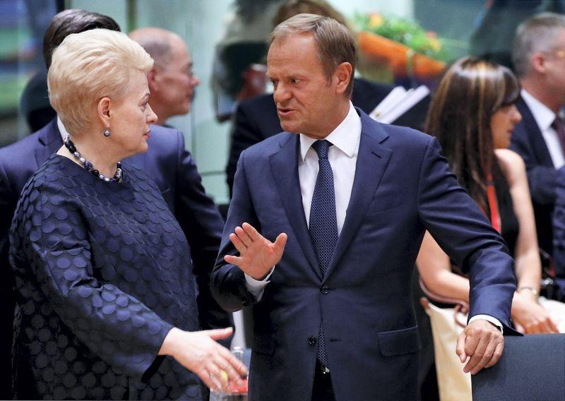 "EVT vadovas Donaldas Tuskas su Lietuvos prezidente Dalia Grybauskaite. Francois Lenoir (""Reuters"" / ""Scanpix"") nuotr."