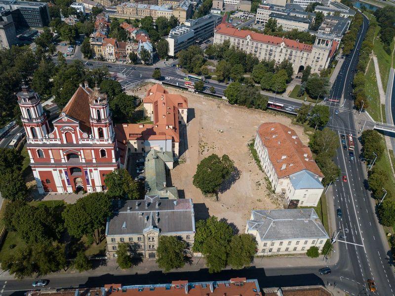 Vilniaus vaizdai iš paukščio skrydžio. Šv. Apaštalų Pilypo ir Jokūbo bažnyčios teritorija.  Vladimiro Ivanovo (VŽ) nuotr.