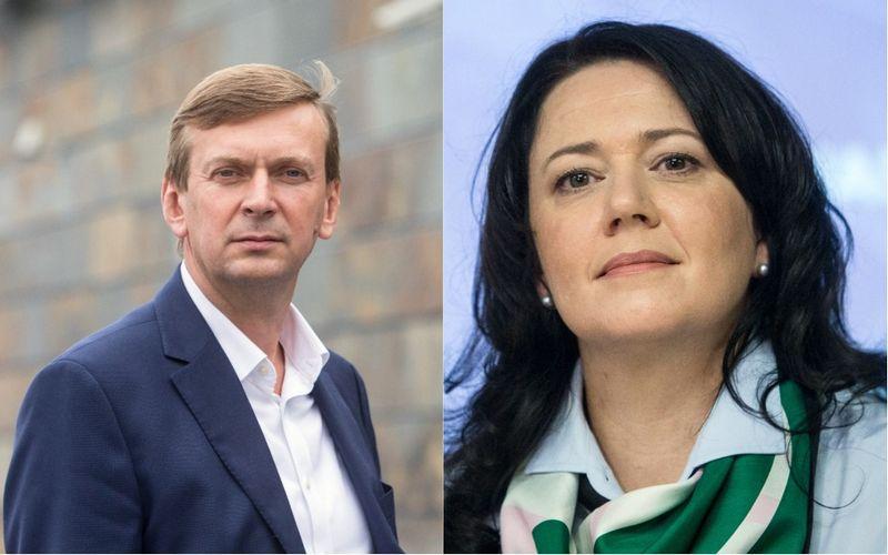 """Dainius Dundulis, """"Norfos"""" įmonių grupės pagrindinis akcininkas ir Kristina Meidė, """"Maxima LT"""" generalinė direktorė. VŽ koliažas"""