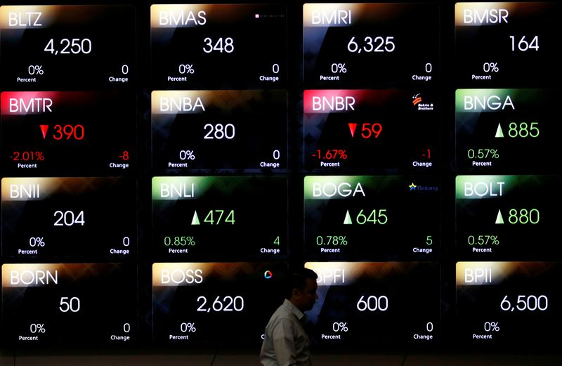 A man walks past a screen at the Indonesia Stock Exchange building in Jakarta, Indonesia, September 6, 2018. REUTERS/Willy Kurniawan