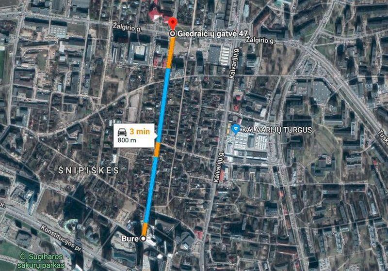 """Planuojama rekonstruoti Giedraičių gatvės atkarpa. """"Google Maps"""" nuotr."""