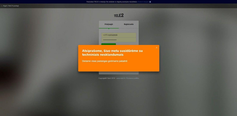 """""""Tele2"""" pašalino ryšio ir savitarnos sutrikimus"""