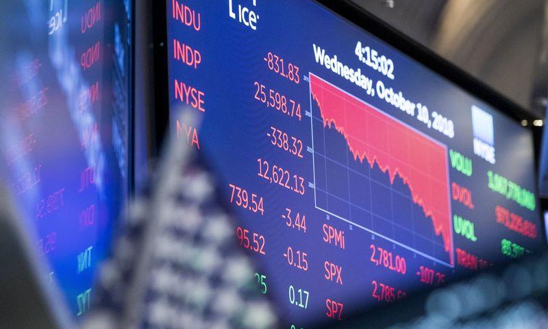 """JAV rinkoje trečiadienį įvykęs išsipardavimas buvo didžiausias nuo vasario. Wang Ying (""""Xinhua"""" / """"Scanpix"""") nuotr."""
