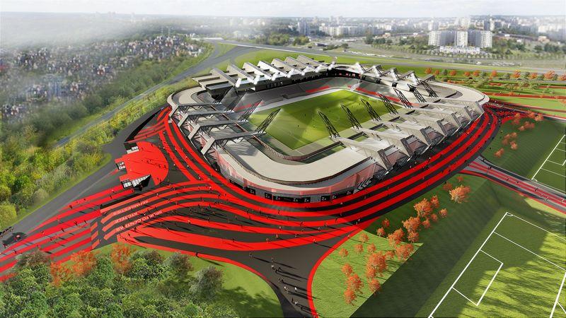 """Įmonių konsorciumo, vedamo """"Axis Indutries"""", nacionalinio stadiono Vilniuje, Šeškinėje, projektas. Bendrovės vizualizacija"""
