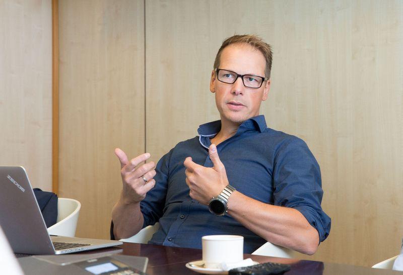 """Tomas Arnoy, vienas iš bendrovės """"Zedge"""" įkūrėjų: """"Norime suburti savarankiškas komandas, kurios gebėtų pačios siūlyti ir kurti inovacijas."""" Juditos Grigelytės (VŽ) nuotr."""