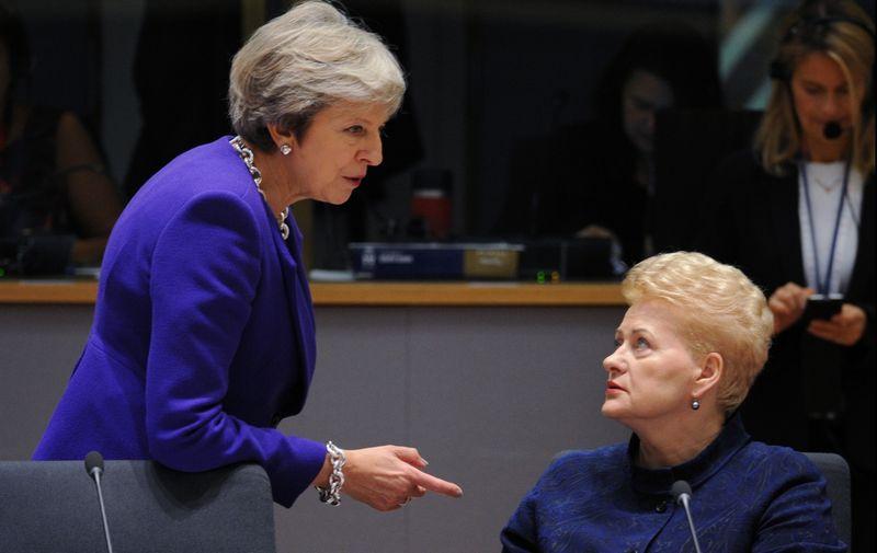 """Jungtinės Karalystės premjerė Theresa May ir Lietuvos prezidentė Dalia Grybauskaitė. Aleksejaus Vitvitskio (""""Sputnik"""" / Scanpix"""") nuotr."""