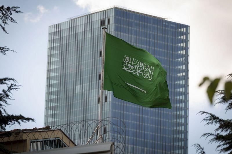 """Saudo Arabijos vėliava. Arnaud Andrieu (""""SIPA""""/""""Scanpix"""") nuotr."""