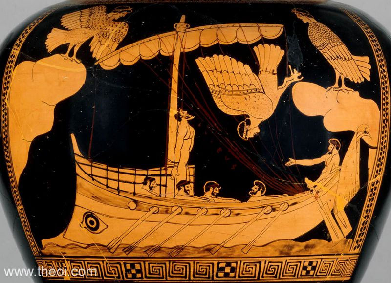"""Juodojoje jūroje aptiktas laivas labai panašus į tuos, kurie puikavosi ant graikų amforų. """"Theoi Greek Mythology"""" nuotr."""