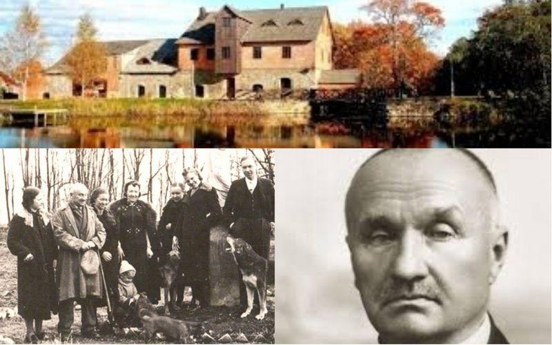 Jonas Smilgevičius su šeima Užvenčio dvare. Užvenčio kraštotyros muziejaus nuotr.