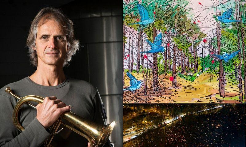 """VŽ koliaže: trimitininkas Markusas Stockhausenas, Jolantos Kizilkaitės tapyba """"Karališkoji medžioklė"""", Vėlinių žvakutės."""