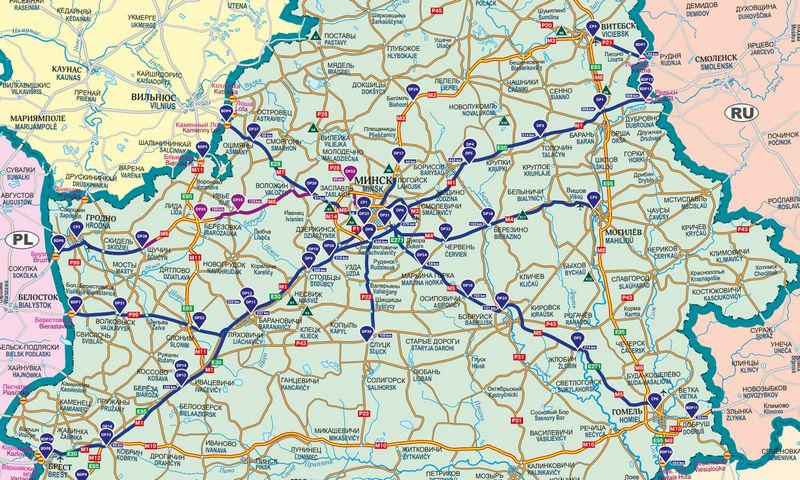 """Mokami Baltarusijos keliai. """"BelToll"""" žemėlapis"""