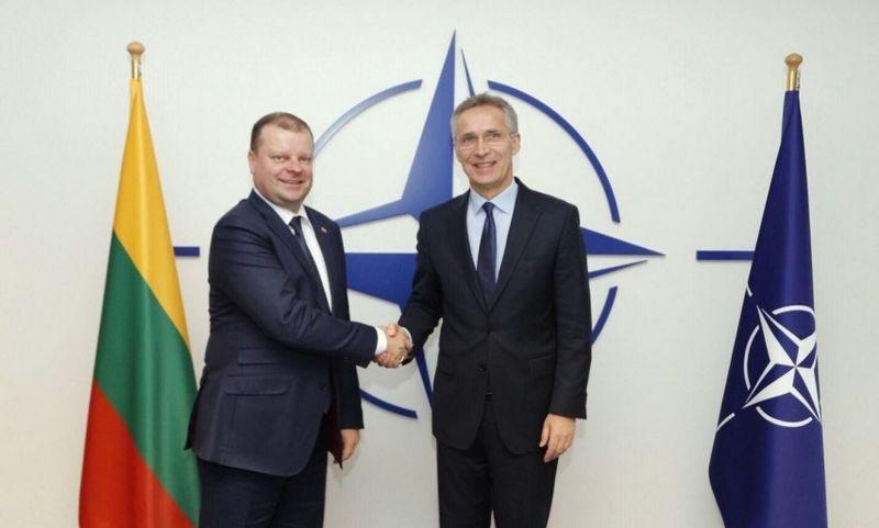 Lietuvos ministras pirmininkas Saulius Skvernelis ir NATO vadovas Jensas Stoltenbergas. Vyriausybės kanceliarijos nuotr.
