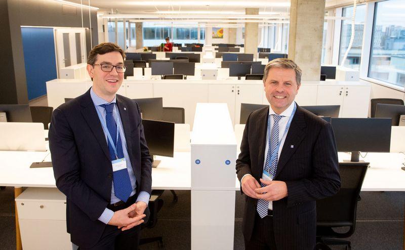 """Norvegijos chemijos pramonės giganto """"Yara"""" viceprezidentai – B. Merkelbachas (kairėje) ir G. De Raedemaeckeris neslepia susižavėjimo Lietuvos žmonėmis. Juditos Grigelytės (VŽ) nuotr."""