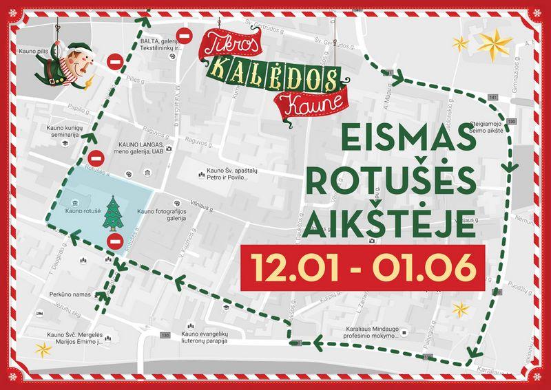 Per šventes eismas Kauno Rotušės aikštėje bus leidžiamas tik išorine aikštės dalimi. Kauno m. savivaldybės vizualizacija.