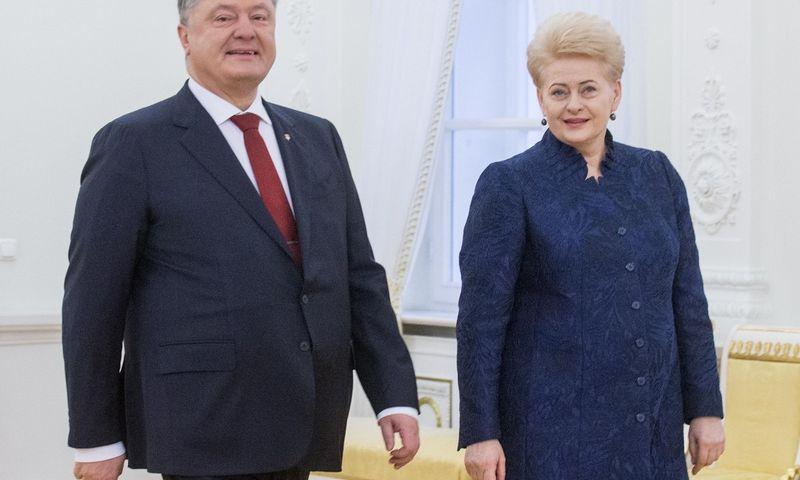 Lietuvos Respublikos Prezidentė Dalia Grybauskaitė susitinka Ukrainos Prezidentu Petro Porošenka. Juditos Grigelytės (VŽ) nuotr.