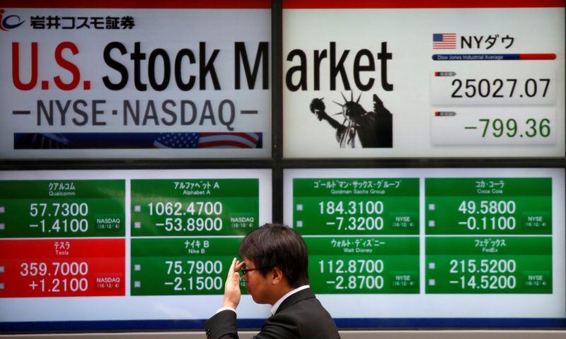 A man walks past an electronic board showing U.S. stock market indicators outside a brokerage in Tokyo, Japan, December 5, 2018.  REUTERS/Issei Kato