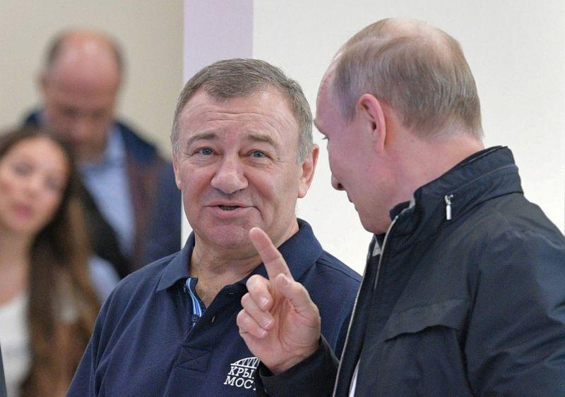 Arkadijus Rotenbergas, Vladimiras Putinas. Sputnik / Scanpix nuotr.