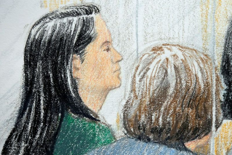 """Meng Wanzhou (kairėje) – teismo dailininko piešinys iš posėdžio. Jane Wolsak (""""Scanpix""""/""""Reuters"""") nuotr."""