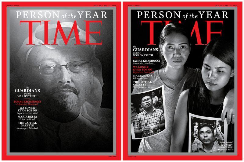 """Saudo Arabijos žurnalistas Jamalas Khashoggis (kairėje) ir Ma Pan Ei Mon bei Chit Su Win, laikančios savo vyrų, Mianmare įkalintų žurnalistų Wa Lone ir Kyaw Soe Oo nuotraukas. """"Reuters"""" / """"Scanpix"""" nuotr."""