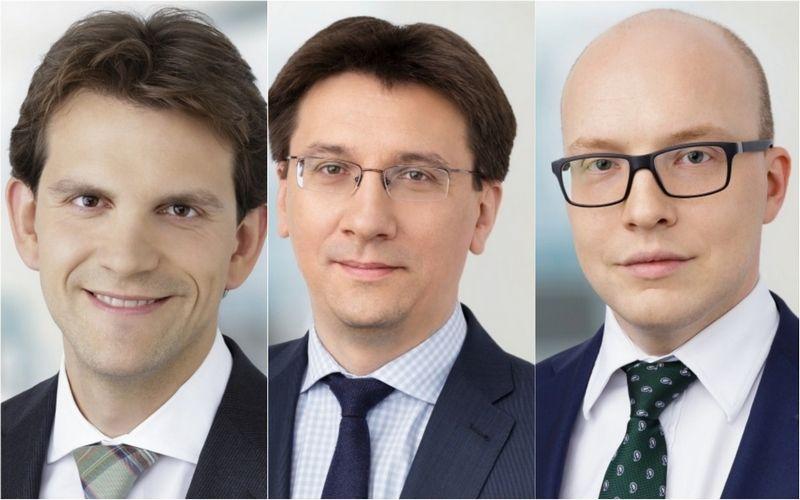 """Naujieji """"Ellex Valiunas"""" partneriai (iš kairės): Karolis Kačerauskas, Miroslav Nosevič., Robertas Čiočys. Advokatų kontoros nuotr."""