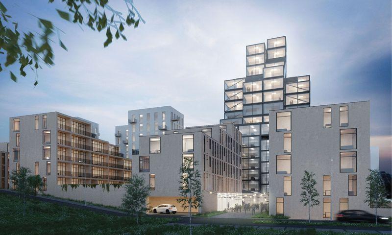 """""""Do architects"""" pasiūlymas gyvenamajam kvartalui Vilniuje. Bendrovės vizualizacija."""