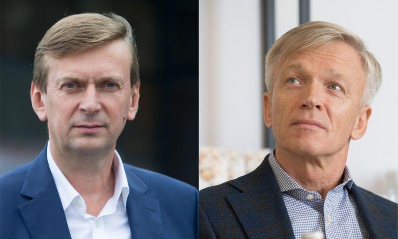 """Iš kairės: Dainius Dundulis, prekybos tinklo """"Norfa"""" įkūrėjas, ir Arvydas Avulis, """"Hanner"""" valdybos pirmininkas. VŽ montažas ir nuotr."""