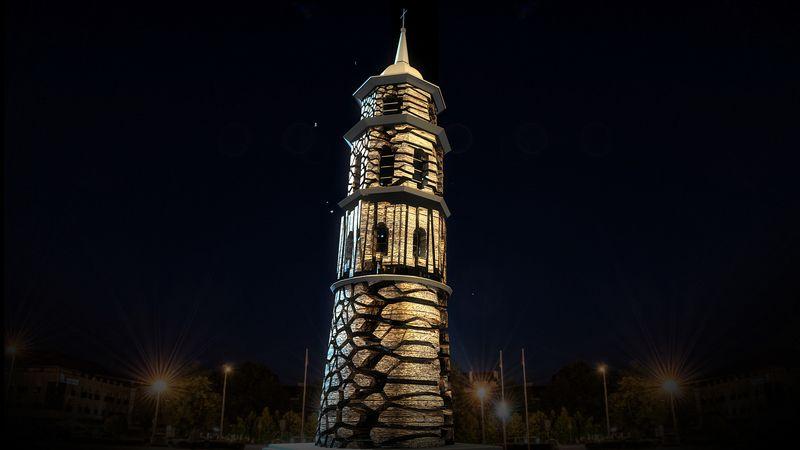 Pasitinkant Naujuosius metus, Vilniaus arkikatedros bazilikos varpinės bokštas virs 3D vaizdo projekcijų instaliacija. Sauliaus Žiūros nuotr.