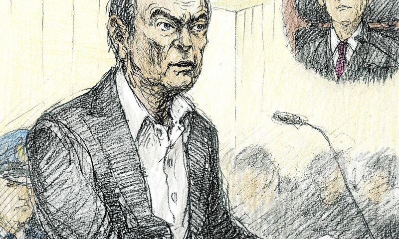 """Tokijo teisme nupieštame piešinyje C. Ghosnas vaizduojamas išsekęs ir sulysęs. """"Kyodo"""" / """"Reuters"""" / """"Scanpix"""" pav."""