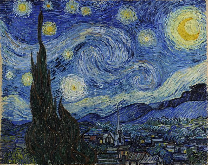 """Vincentas van Goghas, """"Žvaigždėta naktis virš Ronos"""", 1888 m. wikipedios nuotr."""