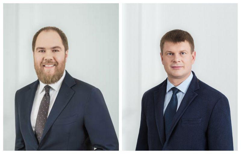 """Nauji """"Cobalt"""" partneriai: (iš kairės) Rokas Daugėla ir Mindaugas Bliuvas. Advokatų kontoros nuotr."""