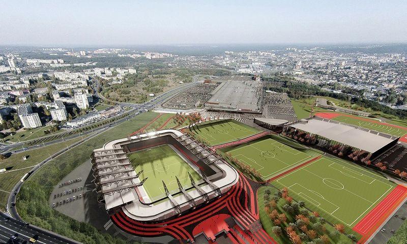 """""""Axis Industries"""" vedamo įmonių kosorciumo nacionalinio stadiono vizualizacija."""