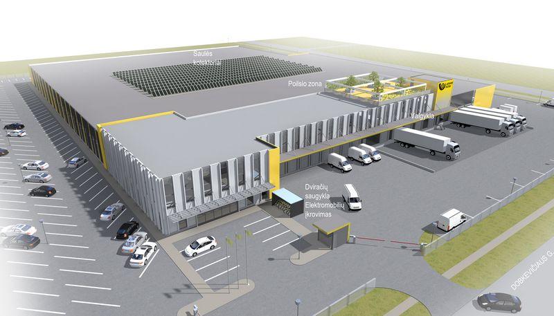 Lietuvos pašto logistikos centro Vilniuje vizualizacija.