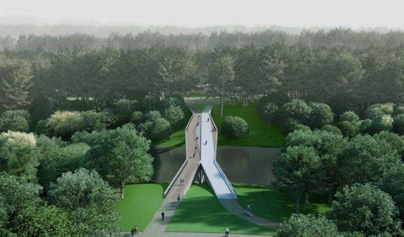 """Geriausiu konkurse paskelbtas """"Užvingio salos tilto"""" projektas. Bendrovės vizualizacija."""
