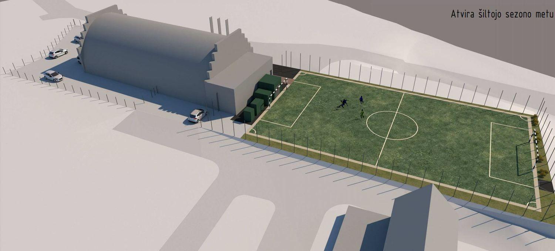 Vilniaus Justiniškių mikrorajone projektuoja dengtą futbolo aikštelę