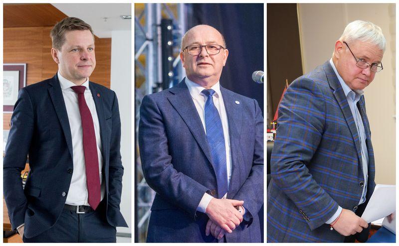 Remigijus Šimašius, Vilniaus meras, Visvaldas Matijošatis, Kauno meras, ir Vytautas Grubliauskas, Klaipėdos meras. VŽ koliažas.