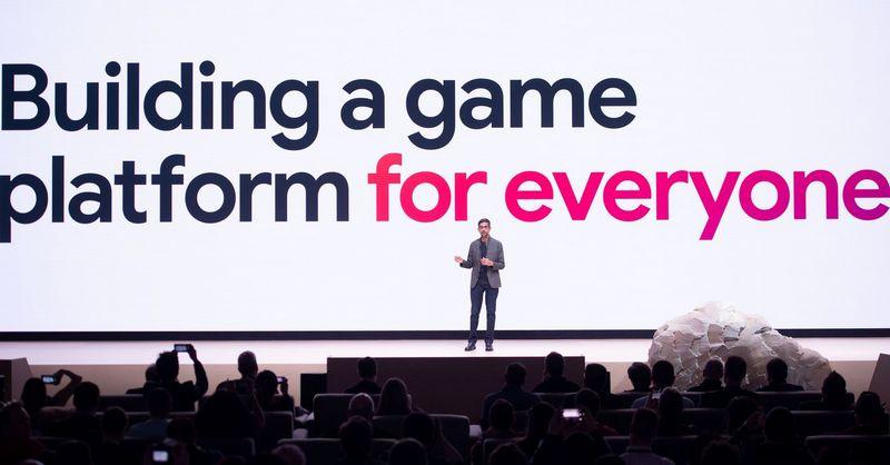 """""""Google"""" vykdomasis direktorius Sundar Pichai pristato žaidimų transliavimo paslaugą """"Stadia""""metinėje žaidimų kūrėjų konferencijoje San Franciske.   Josh Edelson (AFP / """"Scanpix"""") nuotr."""