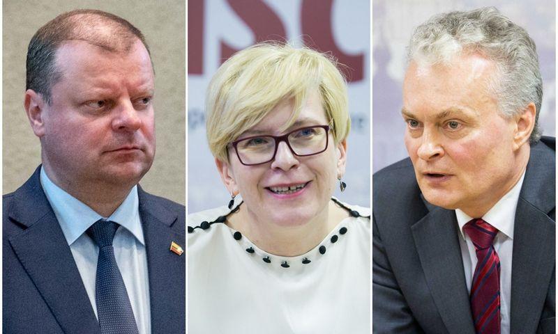 Kandidatai į prezidentus (iš kairės): S. Skvernelis, I. Šimonytė, G. Nausėda. VŽ montažas.
