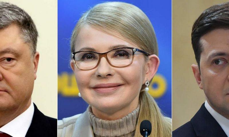 """Kandidatai į Ukrainos prezidento postą (iš kairės: Petro Porošenka, Julija Tymošenko, Volodymyras Zelenskis).  AFP / """"Scanpix"""" koliažas"""