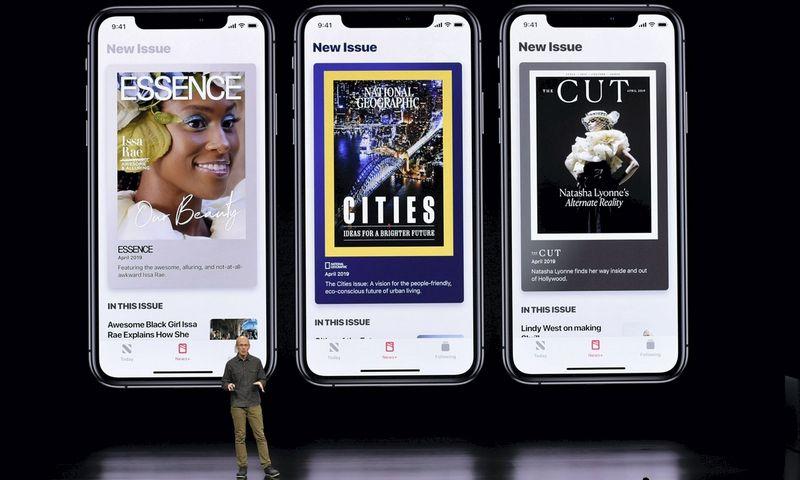 """Apple News+"" pristatymas. Michaelio Shorto (""Scanpix""/AFP) nuotr."