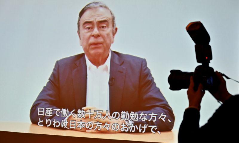 """Carlosas Ghosnas savo pirmąjį viešą pasisakymą surengė paskelbtame vaizdo įraše. AFP  / """"Scanpix"""" nuotr."""