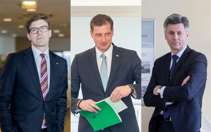 """Iš kairės: Mindaugas Statulevičius, LNTPA direktorius, Kęstutis Mažeika, aplinkos ministras, ir Dalius Gedvilas, Lietuvos statybininkų asociacijos prezidentas.  VŽ ir """"15min.lt"""" nuotr."""