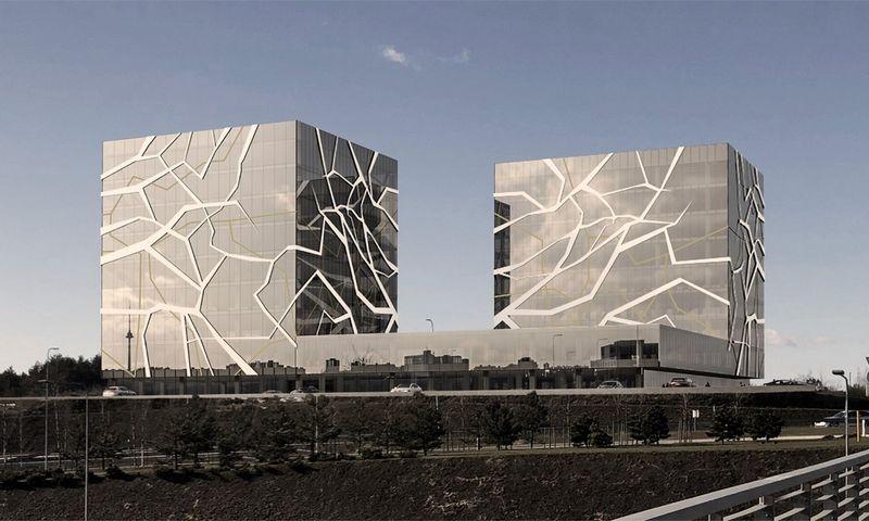 Planuojamas biurų kompleksas greta Vilniaus vakarinio aplinkkelio. Bendrovės vizualizacija.