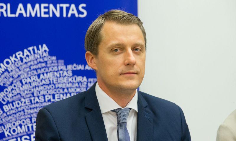 Spaudos konferencija dėl Ignalinos AE uždarymui skirtų lėšų. Energetikos ministras Žygimantas Vaičiūnas, Juditos Grigelytės (VŽ) nuotr.