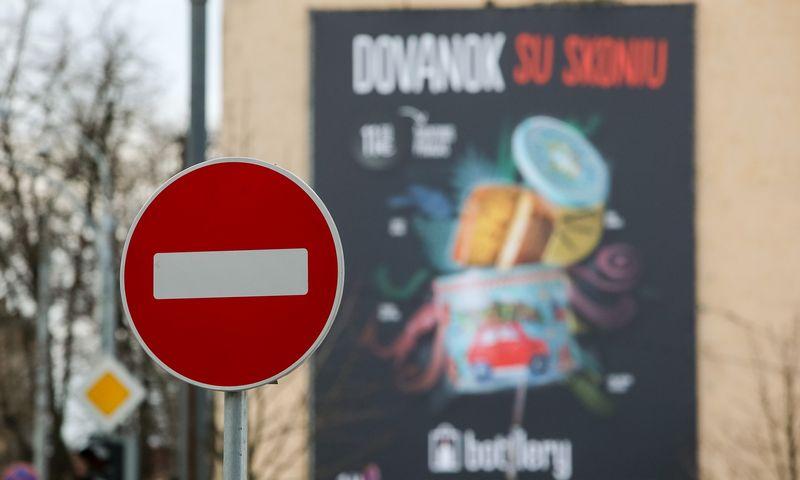Lauko reklama Pamenkalnio gatvėje, Vilniuje. Vladimiro Ivanovo (VŽ) nuotr.