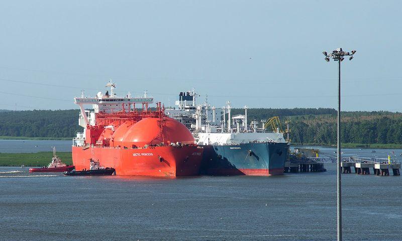 """Dujovežis """"Arctic Princess"""" prie SkGD importo terminalo """"Independence"""". Algimanto Kalvaičio nuotr."""