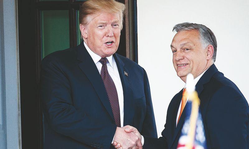 """JAV prezidentas Donaldas Trumpas pareiškė, kad Viktoras Orbanas, Vengrijos premjeras, gerbiamas visoje Europoje.  """"CHINE NOUVELLE"""" / """"SIPos"""" /  """"Scanpix"""" nuotr."""