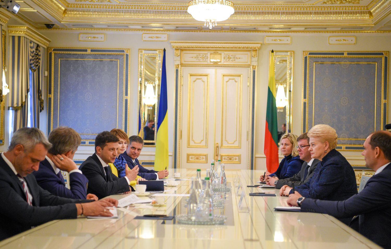 """Su V. Zelenskiu susitikusi D. Grybauskaitė ragino """"sutraiškyti"""" oligarchinę sistemą"""