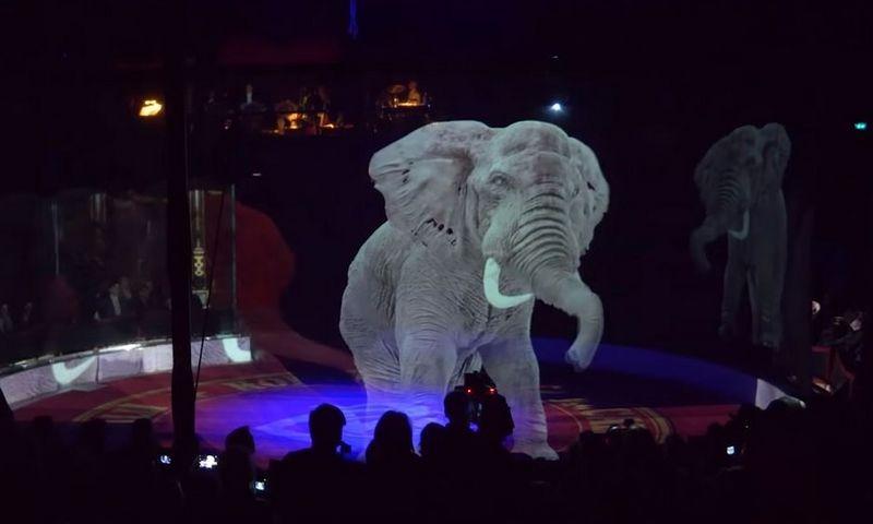 """""""Circus Roncalli"""" pirmasis savo programoje vietoj tikrų gyvūnų ėmė naudoti jų hologramas. """"Youtube"""" stopkadras."""